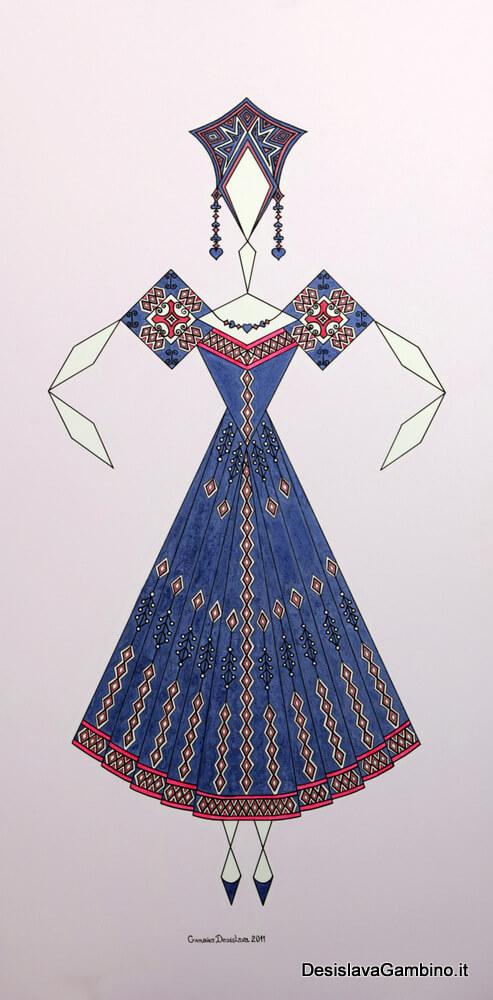 Danseuse Classica Vestito Blu Viola Glitter rif. E12