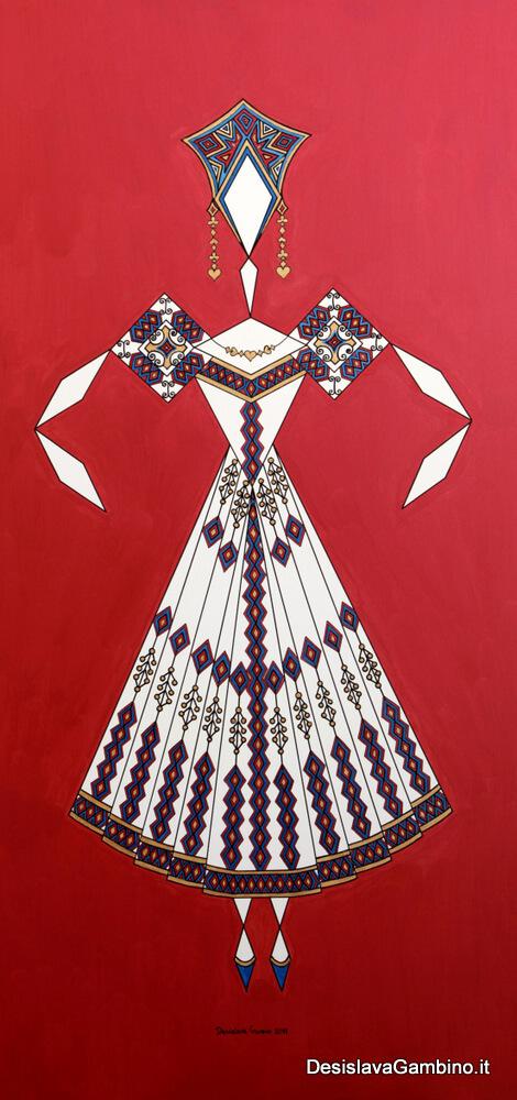 Danseuse Classica Vestito Giallo Fondo Rosso Metal  rif. E16