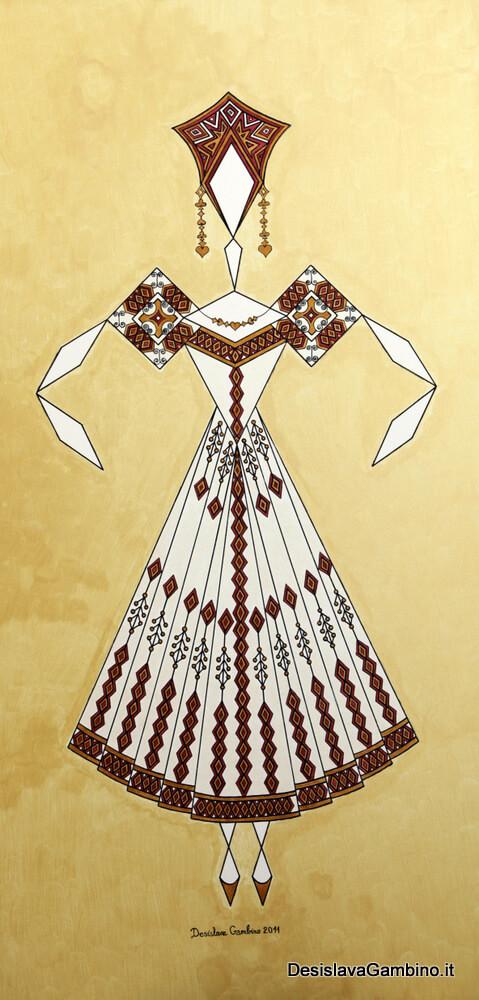 Danseuse Classica Vestito Bianco Fondo Oro  rif. E18