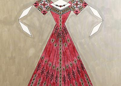 Danseuse Classica Vestito Rosso Glitter Fondo Argento rif. E21