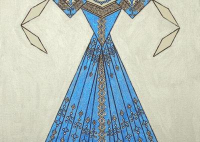 Danseuse Classica Vestito Blu Glitter Fondo Argento  rif. E24