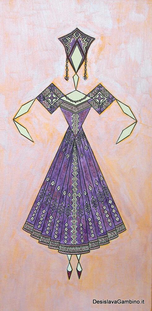 Danseuse Classica Vestito Viola Glitter Fondo Bicolore rif. E26