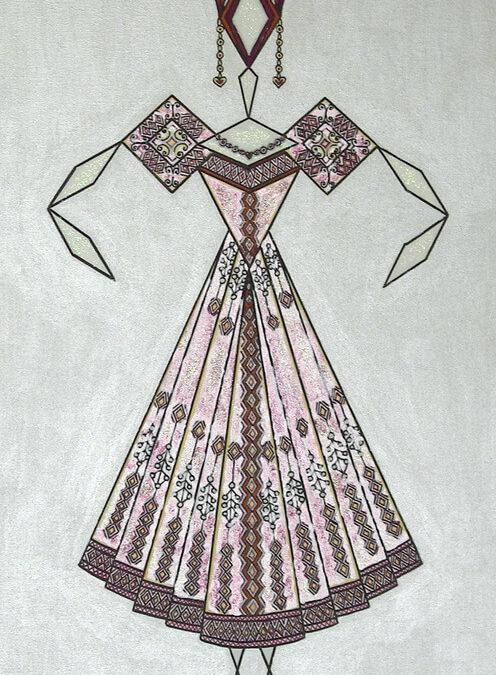 Danseuse Classica Vestito Rosa Fucsia Glitter Fondo Argento rif. E29
