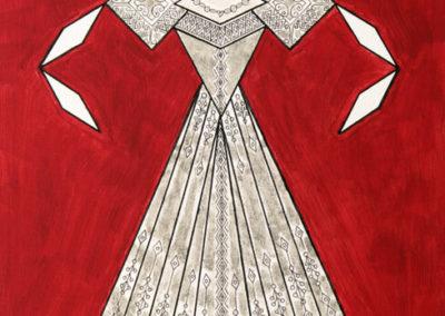 Danseuse Classica Vestito Argento Glitter Fondo Rosso Scuro rif. E3