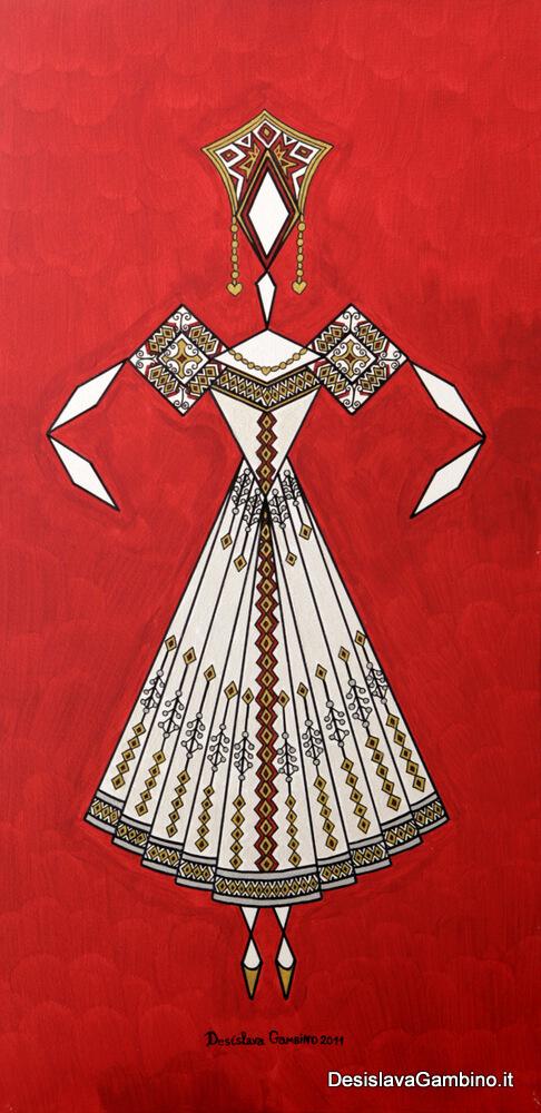 Danseuse Classica Vestito Bianco Fondo Rosso Metal rif. E4