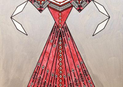 Danseuse Classica Vestito Rosso Glitter Fondo Argento rif. E5