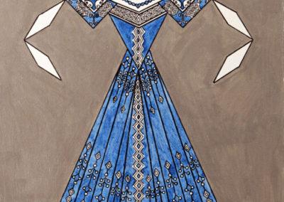 Danseuse Classica Vestito Blu Glitter Fondo Argento rif. E6