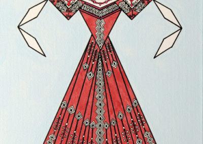 Danseuse Classica Vestito Rosa Metallico Forte con Fondo Azzurro rif. E8