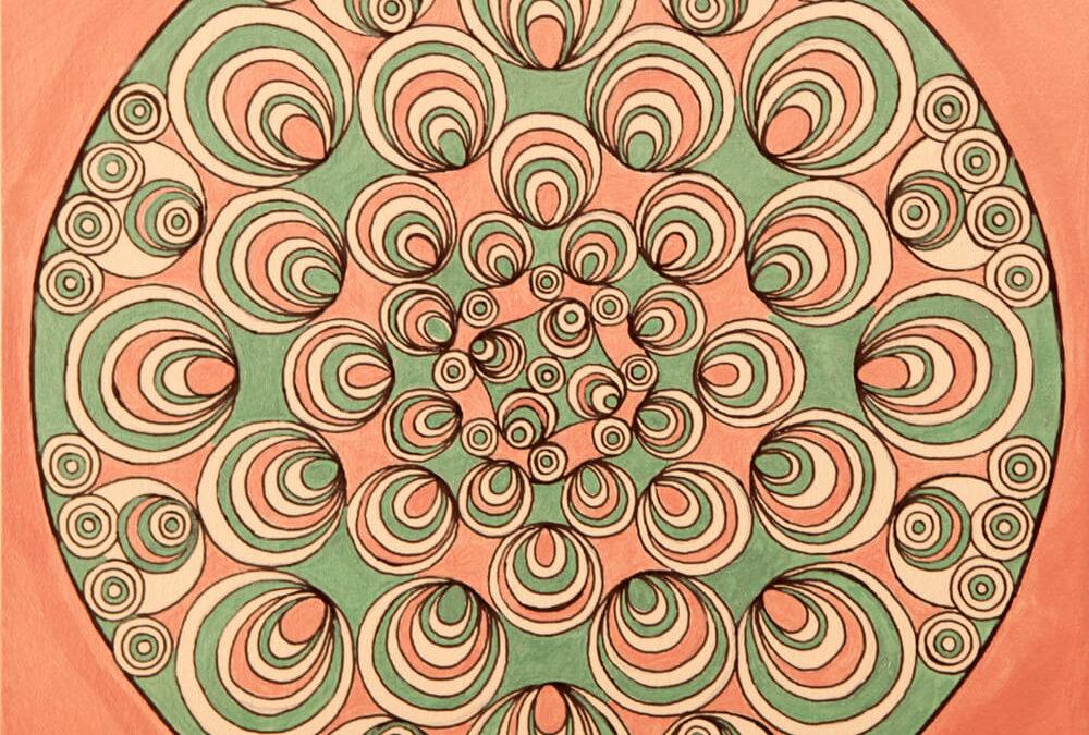 Fantasia con Cerchi Psichedelici Verde e Rosa rif. H18