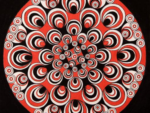 Fantasia con Cerchi Psichedelici Rosso e Nero rif. H7