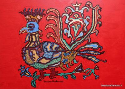 Gallo reale fondo Rosso Metal rif. i12