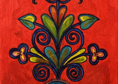 Ornamento fondo Rosso 1 rif. i19