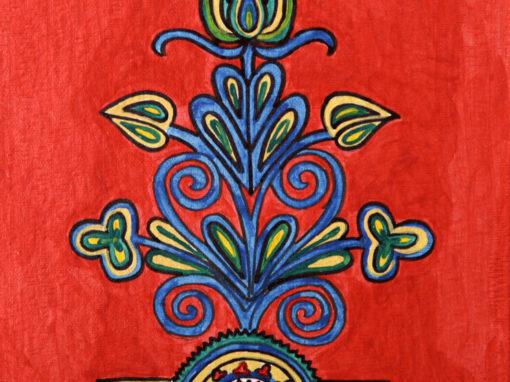Ornamento fondo Rosso 2 rif. i20