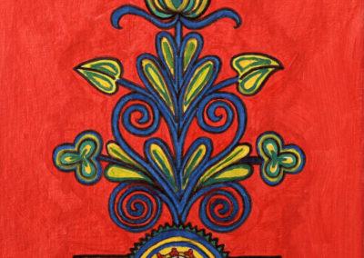 Ornamento fondo Rosso 3 rif. i21