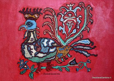 Gallo reale fondo rosso rif. i3