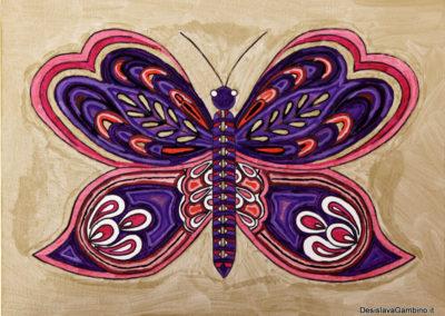 Farfalla Viola fondo Oro rif. i32