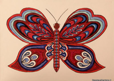 Farfalla Rosso Blu rif. i36