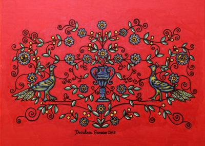 Coppia di Pavoni fondo Rosso Metal 1 rif. 41