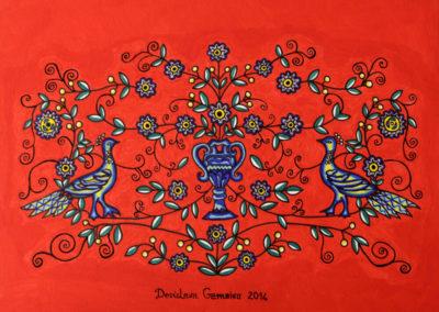 Coppia di Pavoni fondo Rosso Metal 3 rif. i43