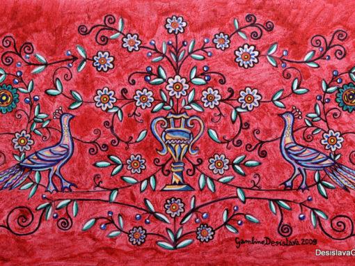 Coppia di Pavoni fondo Rosso Glitter rif. i9